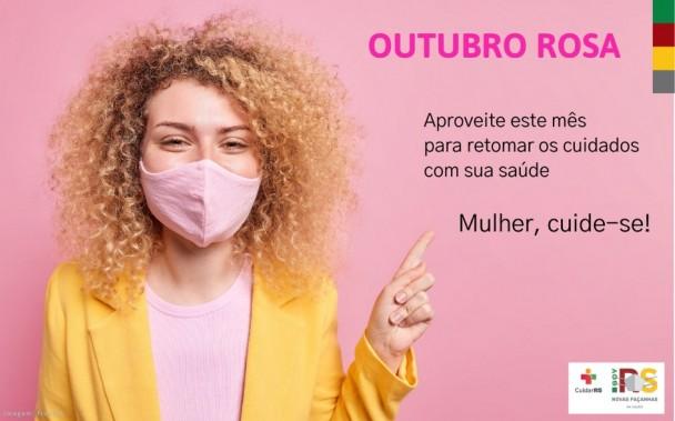 """A imagem mostra uma mulher apontando para a mensagem """"Outubro Rosa- Aproveite este mês para retomar os cuidados com sua saúde, Mulher, cuide-se!"""". Embaixo, tem os logotipos do Governo."""