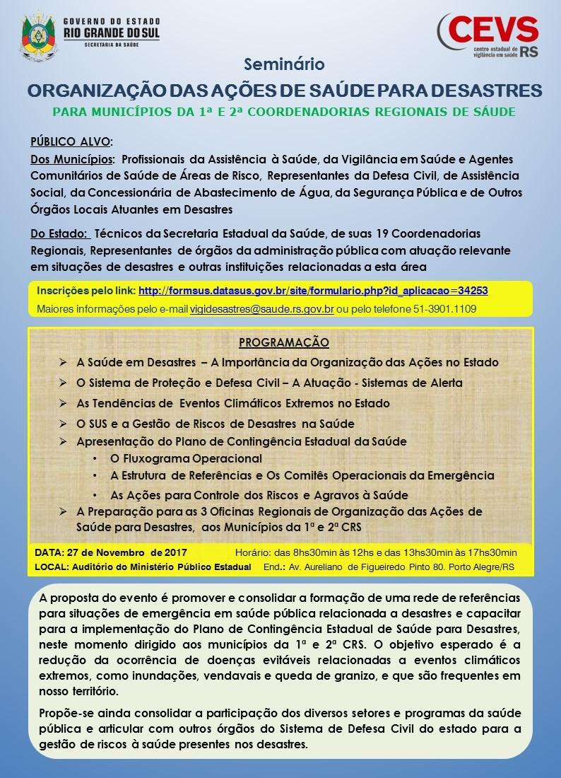Programação Seminário Organização de Ações em Desastres